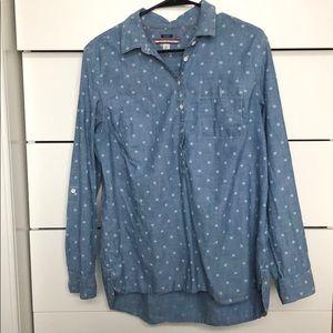 Tommy Hilfiger denim polka dot half button shirt L